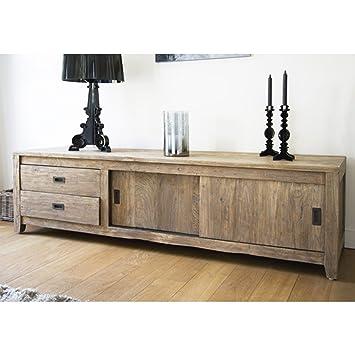 Meuble TV en bois de TECK RECYCLE 180cm - 2 portes coulissantes + 2 tiroirs