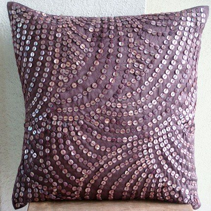 Creeping Vines - 26X26 Inches Square Decorative Throw Purple Silk Euro Sham Covers With Wine Color Mother Of Pearl front-391500
