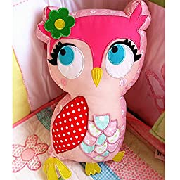 Pink Owl Shape Cotton Patchwork Cartoon Children Bedroom Throw Pillow Cushion