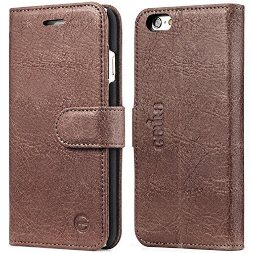 Gelite iPhone6s Plusケース / iPhone6 Plusケース 本革 手帳型 カードポケット付き スタンド機能付 マグネット式 アイフォン6s Plus /6 Plus 5.5インチ(ダックブラウン)