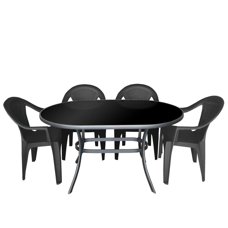 5tlg gartengarnitur alu glastisch mit schwarzer. Black Bedroom Furniture Sets. Home Design Ideas