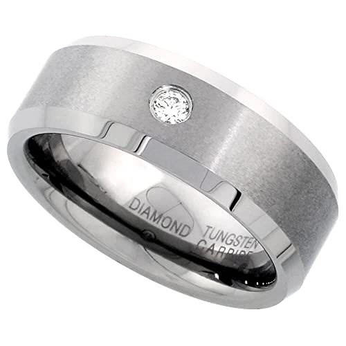 Revoni Tungsten Carbide Diamond 8 mm Wedding Band Ring 0.072 cttw Beveled Edges, sizes P to Z