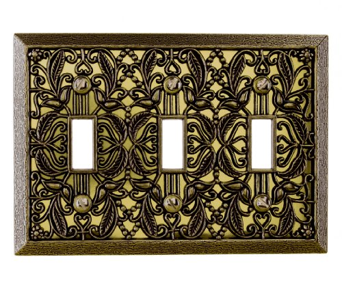 Amerelle 65TTTAB Filigree Cast Metal Triple Toggle Wallplate, Antique Brass Picture