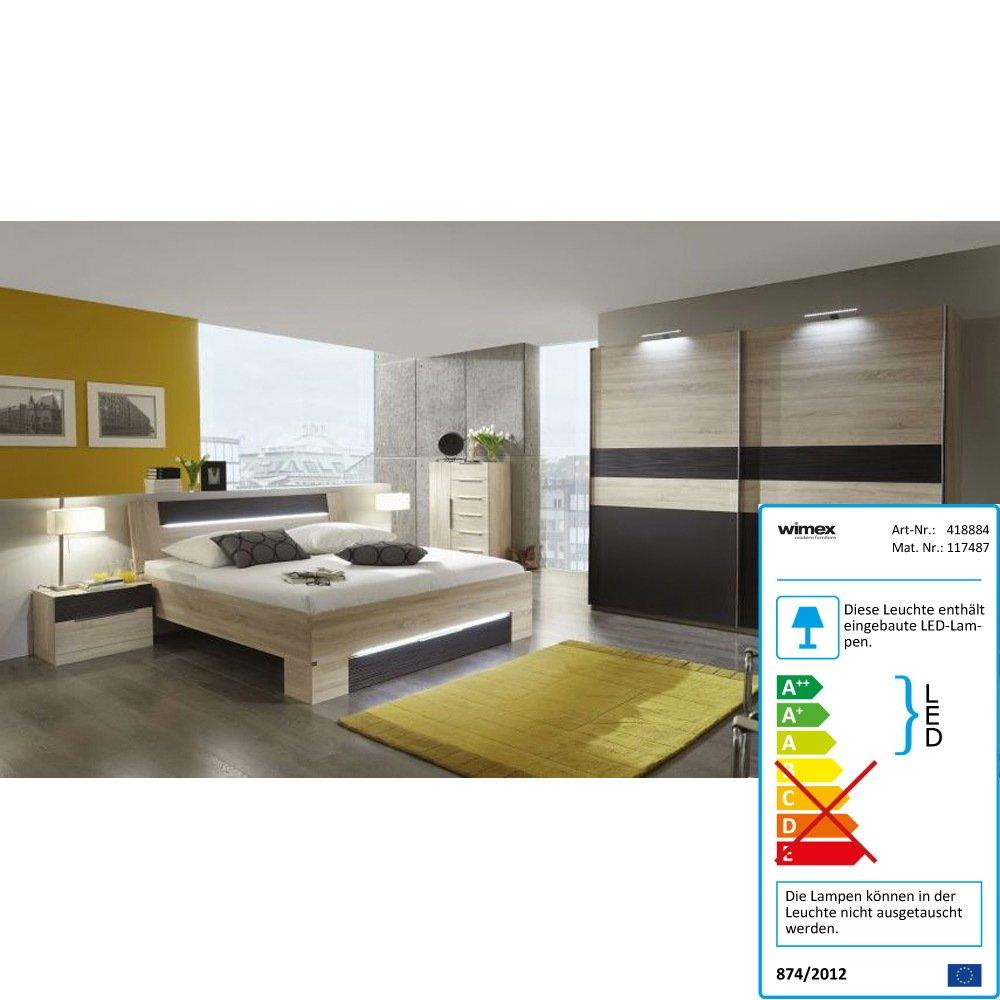 iovivo Schlafzimmer Eiche-Sägerau mit Schwebetürenschrank Ohne Beleuchtung, SCHRANK 250 CM,BETT 180X200CM jetzt kaufen