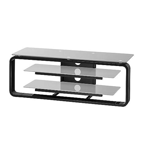 loftscape Mobile TV Rack Jared i-nero/vetro grigio platino-110cm