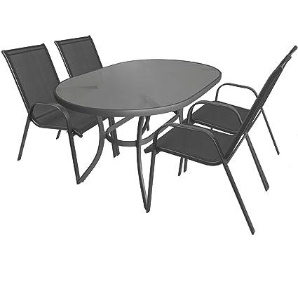 5tlg. Gartengarnitur Aluminium Glastisch 140x90cm oval + Stapelstuhle mit Textilenbespannung Sitzgarnitur Sitzgruppe Gartenmöbel Balkonmöbel Terrassenmöbel
