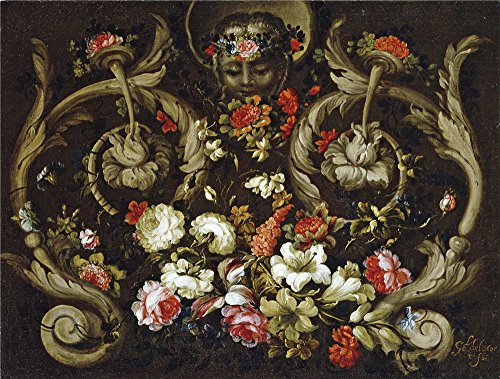 Perfect Effect Canvas ,the High Quality Art Decorative Prints On Canvas Of Oil Painting 'Corte Gabriel De La Mascaron Con Flores 1670 80 ', 24 X 32 Inch / 61 X 81 Cm Is Best For Nursery Gallery Art And Home Artwork And Gifts (Canopy Protection Plan Console compare prices)