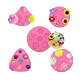 MOMOONNON 5 Pack Candy Making Decorations Flower Cake Fondant Mold Pastry Tools Sunflower Daisy Baking Silicone Small DIY Clay Molds (Color: Pink)