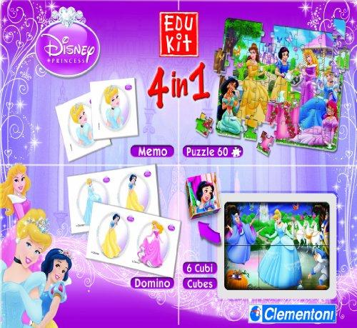 Imagen 1 de Clementoni 5117963 Edukit Princess 4 en 1 - Set de juegos, diseño princesas (puzzle, memo, dominó, cubos) [importado de Alemania]