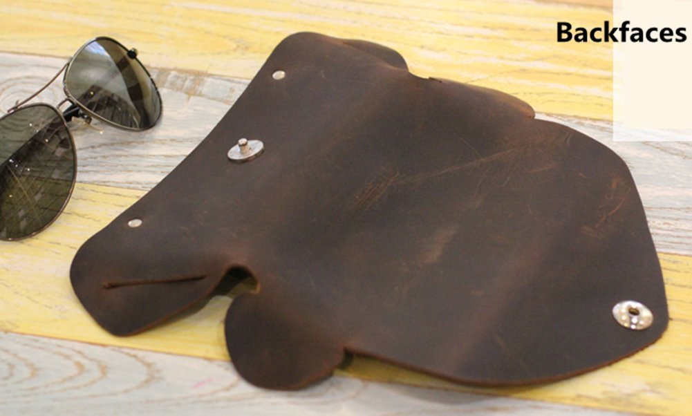 YAAGLE Genuine Leather Glasses Bag Case Soft Vintage Handmade 6