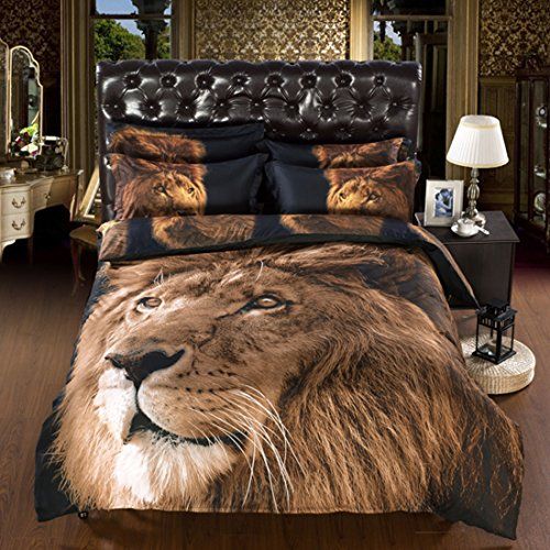 uxcell 3D Golden Lion Head Pattern Queen Size Duvet Cover Pillowcase Sheet Bedding Set