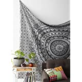 Black And White Tapestries Elephant Mandala Hippie Tapestry Indian Traditional Throw Beach Throw Wall Art College...