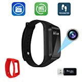 Bysameyee Smart Bracelet Video Recording Camera, HD 1080P Mini DVR Cam with Steps Tracking – Black Adjustable Wristband (Color: black)