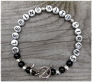 HAND MADE SLEEPING WITH SIRENS BRACELET WITH GUITAR CHARM