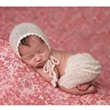 Fashion Cute Newborn Boy Girl Baby Costume Outfits Photography Props Hat Pant (White) (Color: White, Tamaño: Medium)