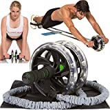 AB-WOW Ab Roller Pro Wheel with Bonuses, Best Abdominal Workout Machine for 6-Pack Abs plus Flat Stomach and Core Fitness, Supports 500 Lbs