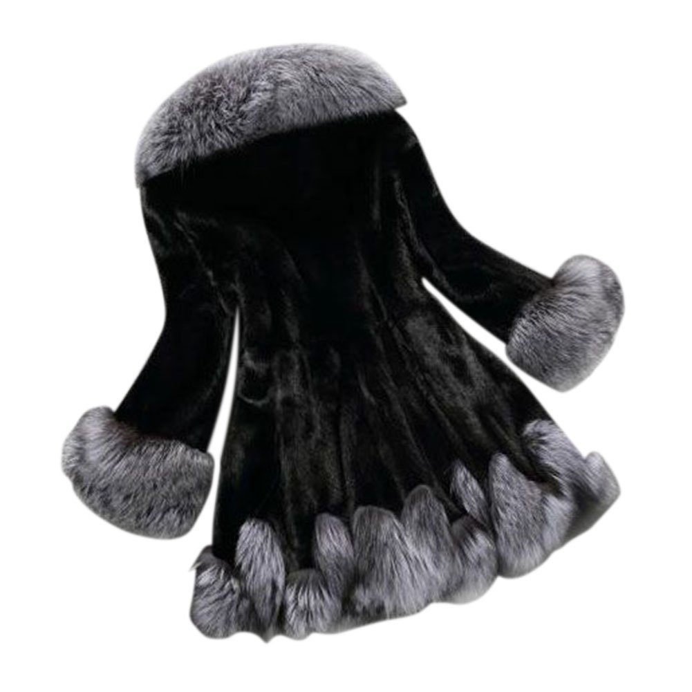 Sungpunet Womens Vintage Faux-Fur Coat With Hood 1