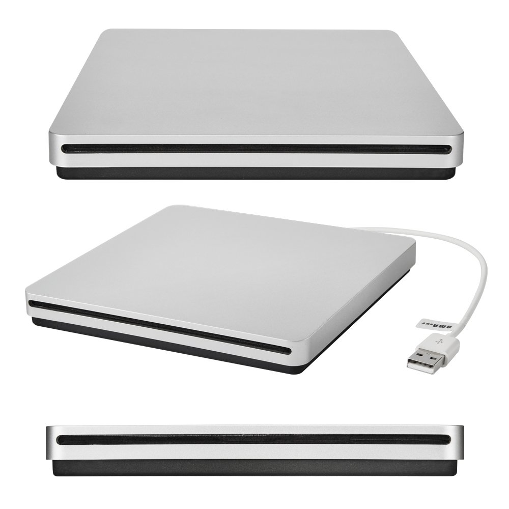 AMASKY(TM) Ultra-thin External Slot-in DVD VCD CD RW Drive Burner, USB2.0/1.1, Suit for Apple Macbook Pro Air iMAC (silver)