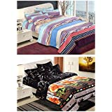 Home Creations Combo Of 2 Poly Cotton Double Bed Sheet With 4 Pillow Cover (tbs-3dbed-B33+B31, 220 Cm X 240 Cm)