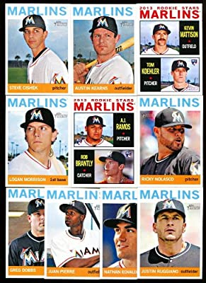 2013 Miami Marlins Topps Heritage MLB Baseball Complete Mint 10 Basic Card Team Set