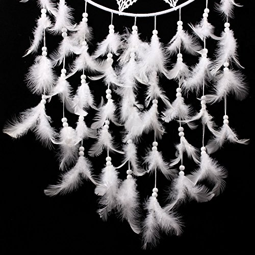 Whitelotous 36.6'' Big Size White Handmade Dream Catcher with Feathers Hanging Decor