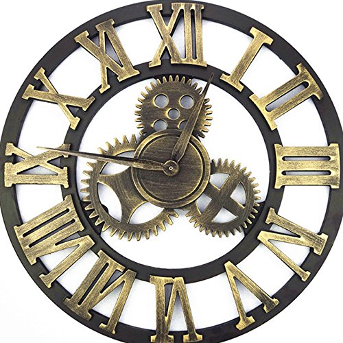 "23"" Handmade Oversized 3d Retro Decorative Luxury Art Big Wooden Vintage Large Gear Wall Clock on the Wall for Gift(58cm Roman gold)"