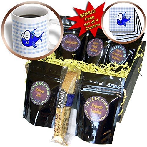Florene - Childrens Art III - Print of Blue Piranha On Check Blue - Coffee Gift Baskets - Coffee Gift Basket (cgb_205094_1)
