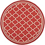 "Safavieh Courtyard Collection CY6918-248 Red and Bone Indoor/ Outdoor Round Area Rug (710"" Diameter)"