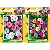 Airex Vinca & Portulaca Mixed Flower Seeds ( Pack Of 15 Seeds Per Packet)