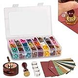 ZiiDoo Wax Seal Set, 720 Pcs Octagon Sealing Wax Beads with 1 Pcs Wax Seal Monogram Stamp, 10 Pcs High-Grade Vintage Envelopeand 1 Pcs Wax Melting Spoon