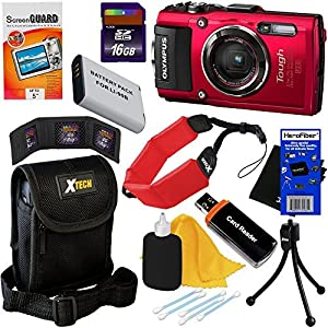 Olympus Stylus Tough TG-4 Water, Shock, Freeze & Crush Proof 16MP Digital Camera with Wi-Fi, GPS & HD Video, Red (Import) + LI-90B/92B Battery + 9pc 16GB Accessory Kit w/ HeroFiber® Cleaning Cloth