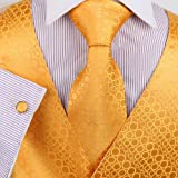 Mens Designer Gold Dots Tuxedo Vest Set Match Necktie Cufflinks Bowtie Hanky Set for Suit Vs1007-M
