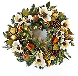 New Battery Pack! Pre-lit Decorated Wreath Gold Pear & Magnolia 30\