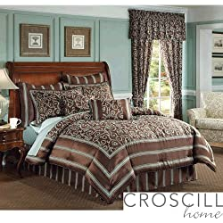 Croscill Yorkville 18-inch Square Reversible Toss Pillow, Chocolate