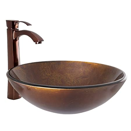 VIGO Russet Glass Vessel Bathroom Sink and Otis Vessel Faucet with Pop Up, Oil Rubbed Bronze