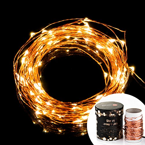 [Prettiest LED String Lights] TaoTronics Copper Wire Lights, Waterproof Starry String Lights, Décor Rope Lights For Seasonal Decorative Christmas Holiday, Wedding, Parties(100 Leds, 33 ft,Warm White)