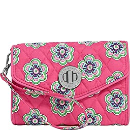 Vera Bradley Women\'s Your Turn Smartphone Wristlet Pink Swirls Flowers Clutch