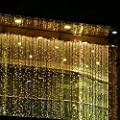 Addlon 3M x 3M 304 LED 8 Work Modes 110V Window Curtain Icicle Lights String Fairy Light (10-clip Included) for Ambiance Lighting for Outdoor, Patio, Lawn, Landscape, Fairy Garden, Home, Wedding, Holiday, Christmas Party, Xmas Tree,waterproof (Warm White)