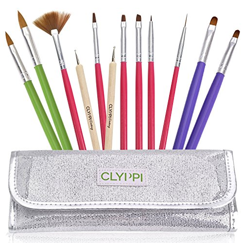Nail Art, Gel & Acrylic Brushes Set With Dotting Tools - Sparkly Silver Pouch - Professional Painting, Marbling & Detailing Kit - Perfect Gift For Girls, Teens & Women (Manicure Brush Set compare prices)