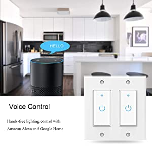 Smart Switch WiFi Wall Light Switch Compatible with Alexa, Google Assistant and IFTTT, Neutral Wire Required, Single Pole, 2 Gang