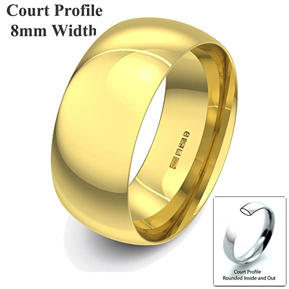 Xzara Jewellery - 18ct Yellow 8mm Court Profile Hallmarked Ladies/Gents 10.2 Grams Wedding Ring Band