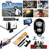 SQdeal® 6 in 1 Extendable Selfie Handheld Stick Monopod + Adjustable Phone Holder +Flexible Tripod + Bluetooth Wireless Remote Shutter + Memory Reader + Gift for iPhone HTC One LG Sony Samsung Galaxy Mobile Cell Phone