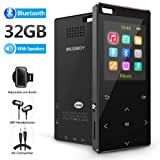MP3 Player, 32GB MP3 Player with bluetooth4.2, Portable Lossless Digital Audio Player with FM Radio/Voice Recorder, Pedometer with an Armband, Touch Buttons, Support up to 128gb, Black (Color: 1 Recording)