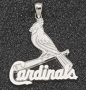 MLB St Louis Cardinals Bird On Bat Pendant 1 1 2 Inch - 14K Yellow Gold by Logo Art