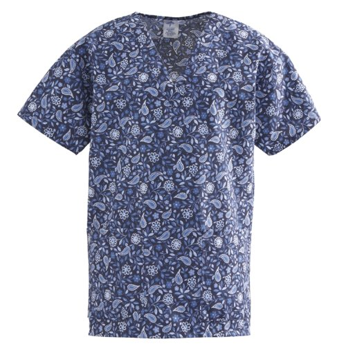 medline-comfortease-ladies-v-neck-2-pocket-scrub-top-sml-rhapsody-blue-print