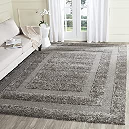 Safavieh Shadow Box Shag Collection SG454-8080 Grey Area Rug, 4 feet by 6 feet (4\' x 6\')