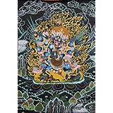 Winged Vajrakila in Yab Yum - Tibetan Thangka Painting