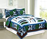 COMPASS 3 Piece Surf Up Embroidered Quilt Coverlet Set, Multicolor, Full/Queen