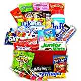 XLarge American Sweet Hamper Candy/Chocolate/Jelly Belly Beans Christmas/Birthday Gift - in a Retro Metal Red Tin - Version 1