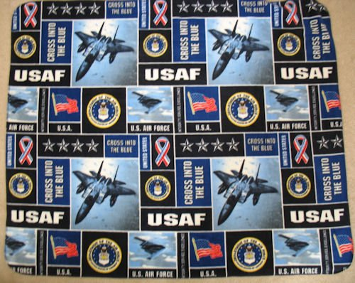 Us Air Force Allover Printed Fleece Throw Blanket front-502351